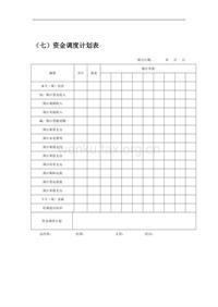 (七)资金调度计划表
