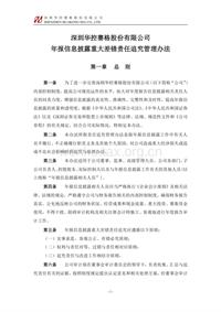 华控赛格:年报信息披露重大差错责任追究管理办法