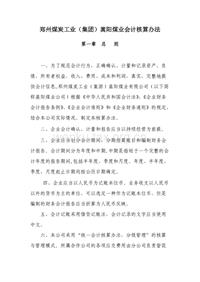 郑州煤炭工业(集团)嵩阳煤业会计核算办法
