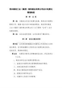 郑州煤炭工业(集团)嵩阳煤业有限公司会计电算化管理制度