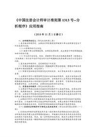 《中国注册会计师审计准则第1313号--分析程序》应用指南