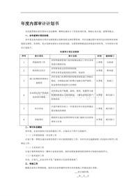 年度内部审计计划书 (2)